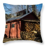 Classic Vermont Maple Sugar Shack Throw Pillow by Edward Fielding