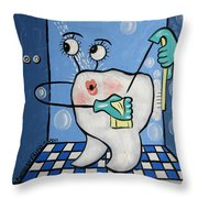 Clean Tooth Throw Pillow by Anthony Falbo