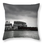 Cleveland Browns Stadium From The Inner Harbor Throw Pillow by Kenneth Krolikowski