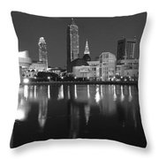 Cleveland Skyline at Dusk Black and White Throw Pillow by Jon Holiday