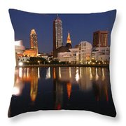 Cleveland Skyline At Dusk Throw Pillow by Jon Holiday