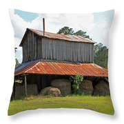 Clewis Family Tobacco Barn Throw Pillow by Suzanne Gaff