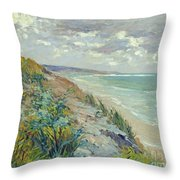 Cliffs By The Sea At Trouville  Throw Pillow by Gustave Caillebotte