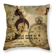 Clockworks Throw Pillow by Fran Riley