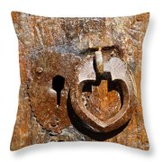 Close Up Of A Heart Shaped Lock On A Door In The Village Of Abyaneh In Iran Throw Pillow by Robert Preston
