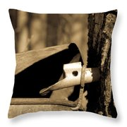 Closeup Of A Maple Tap Throw Pillow by Edward Fielding