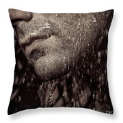 Closeup Of Mans Chin With Stubble Throw Pillow by Oleksiy Maksymenko