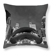 Cloud Gate And Skyline Throw Pillow by Adam Romanowicz