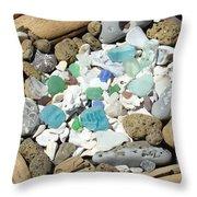 Coast Seaglass art prints Shells Fossils Driftwood Throw Pillow by Baslee Troutman