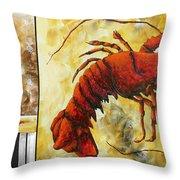 Coastal Lobster Decorative Painting Original Art Coastal Luxe Lobster By Madart Throw Pillow by Megan Duncanson