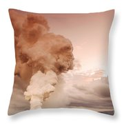 Coastal Steam Plume At Kilauea Volcano Throw Pillow by Stephen & Donna O'Meara