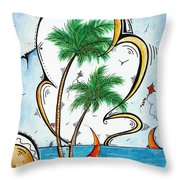 Coastal Tropical Art Contemporary Sailboat Kite Painting Whimsical Design Summer Daze By Madart Throw Pillow by Megan Duncanson