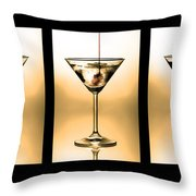 Cocktail triptych in gold Throw Pillow by Jane Rix