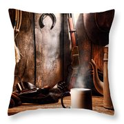 Coffee At The Cabin Throw Pillow by Olivier Le Queinec
