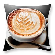 Coffee Latte With Foam Art Throw Pillow by Elena Elisseeva
