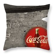 Coke Cola Sign Throw Pillow by Paulette B Wright