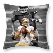 Colin Kaepernick 49ers Throw Pillow by Joe Hamilton