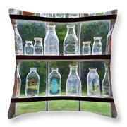 Collector - Bottles - Milk Bottles Throw Pillow by Mike Savad