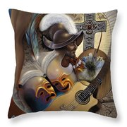 Color Y Cultura Throw Pillow by Ricardo Chavez-Mendez