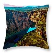 Colorado River Grand Canyon Throw Pillow by Bob and Nadine Johnston