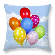 Colorful Balloons With Blue Sky Throw Pillow by Elena Elisseeva