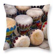 Colorful Congas Throw Pillow by Carlos Caetano