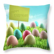 Colorful Easter Eggs With Sign In A Field Throw Pillow by Sandra Cunningham