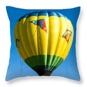 Colorful Hot Air Balloon Over Vermont Throw Pillow by Edward Fielding
