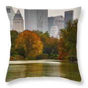 Colorful Magic In Central Park New York City Skyline Throw Pillow by Silvio Ligutti