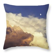 Colorful Orange Magenta Storm Clouds Moon At Sunset Throw Pillow by Keith Webber Jr