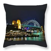 Colorful Sydney Harbour Bridge By Night Throw Pillow by Kaye Menner