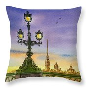 Colors Of Russia Bridge Light In Saint Petersburg Throw Pillow by Irina Sztukowski