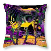 Colourful Zebras  Throw Pillow by Aidan Moran