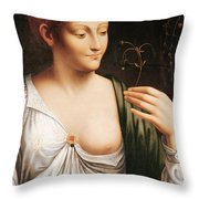 Columbine Throw Pillow by Leonardo da Vinci