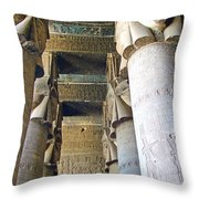 Columns In Temple Of Hathor Near Dendera In Qena-egypt Throw Pillow by Ruth Hager