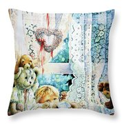 Come Out And Play Teddy Throw Pillow by Hanne Lore Koehler