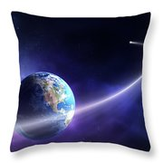 Comet Moving Past Planet Earth Throw Pillow by Johan Swanepoel