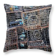 Commercial Fishing Pots Throw Pillow by Heidi Smith