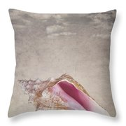 Conch shell on vintage background Throw Pillow by Jane Rix