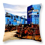 Conrail Choo Choo  Throw Pillow by Frozen in Time Fine Art Photography