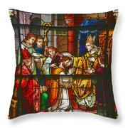Consecration Of St Augustine Stained Glass Window Throw Pillow by Christine Till