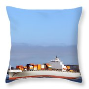 Container Ship At Sea Throw Pillow by Olivier Le Queinec