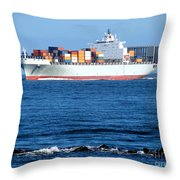 Container Ship Throw Pillow by Olivier Le Queinec