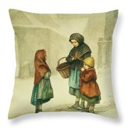 Conversation In The Snow Throw Pillow by Pierre Edouard Frere