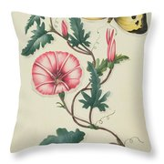 Convolvulus With Yellow Butterfly Throw Pillow by English School