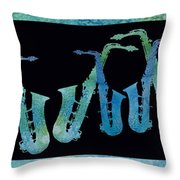 Cool Blue Saxophone String Throw Pillow by Jenny Armitage