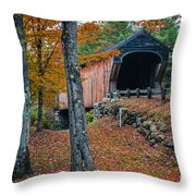 Corbin Covered Bridge Newport New Hampshire Throw Pillow by Edward Fielding