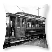 Corbin Park Street Car No. 175 - 1915 Throw Pillow by Daniel Hagerman