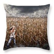Corn Field Horror Throw Pillow by Jt PhotoDesign