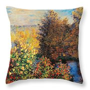 Corner Of Garden In Montgeron Throw Pillow by Claude Monet